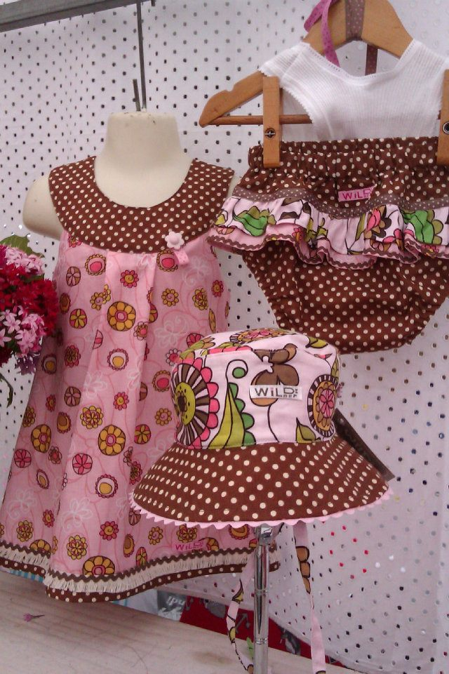 Brown/Pink Dress Bloomers and hat set sizes- 00-6 dress $48 hat $35 bloomer set $38